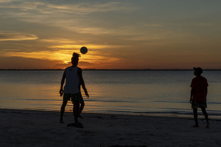Rear view of silhouette men on beach during sunset