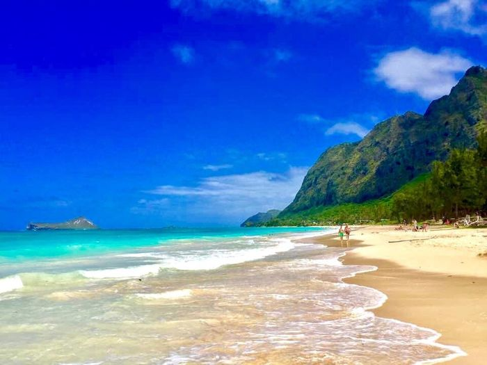 Beach Waimanalo Beach Sea Water Land Beach Beauty In Nature Scenics - Nature Sky Sand Travel Destinations Tranquility Cloud - Sky Nature