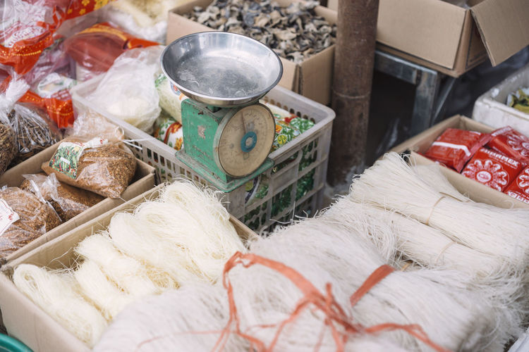 High angle view of noodles for sale at market stall