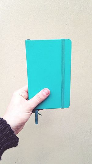 Cropped hand holding blue diary against wall