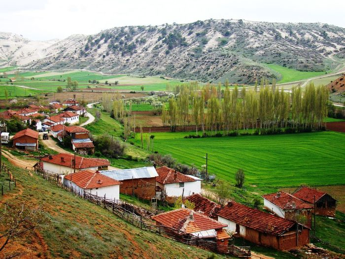 My home village. Dereköy, Eskişehir Scenics Nature Built Structure Outdoors Outdoors High Angle View Building Exterior Beauty In Nature Landscape Tranquility Architecture Mountain Range Tranquil Scene No People House Country House Agriculture Field Green Color Rural Scene Mountain Tree Sky Grass Day