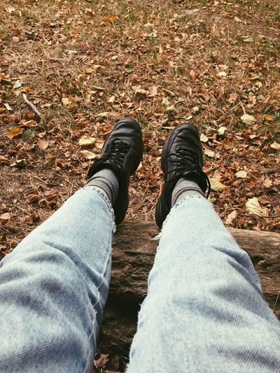 Autumn is here Leaves Autumn Crunge Low Section Human Leg Personal Perspective Body Part Human Body Part Jeans Real People Nature Land Autumn Mood