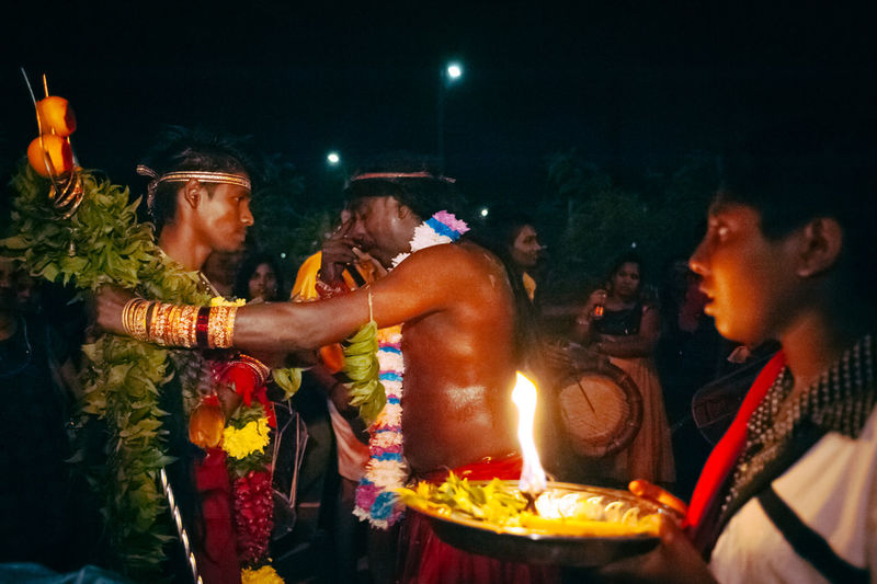 Arts Culture And Entertainment Burning Celebration Ceremonial Cultures Flame Friendship Front View Glowing Illuminated Lifestyles Music Portrait Real People Thaipusam2016 Young Adult Youth Of Today