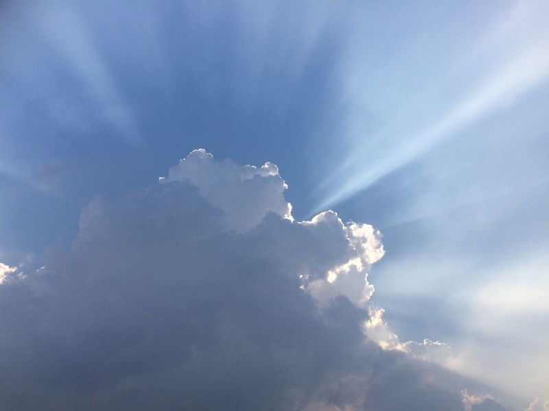Beauty In Nature Low Angle View Blue Sky Tranquility Tranquil Scene Cloud Cloud - Sky Sunbeam Cloudscape Heaven Majestic No Edit, No Filter, Just Photography Popular Photos Popular Perspectives On Nature