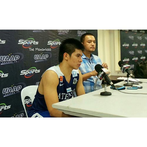 Thephenom Kiefthefaith Ateneo Blue Eagle Kiefer Ravena and coach Bo Perasol at the Presscon . Ravena and Ryanbuenafe recorded 18 points each to close the second round match victory over Adamson Soaring Falcons, 79-66, today at Smart Araneta Coliseum. uaap76 ADMUvsAdU ateneoblueeagles admu ateneo obf kieferravena themanansala photography roundtwo basketball @kieferravena15