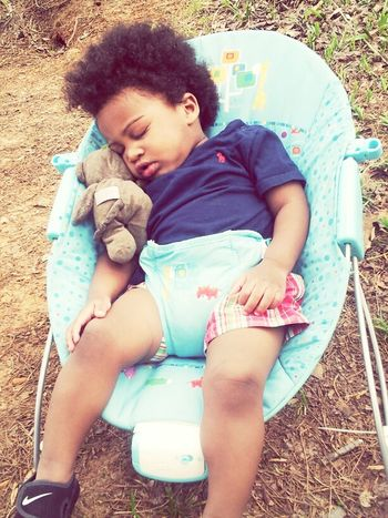 My love knocked out on our trip to the lake