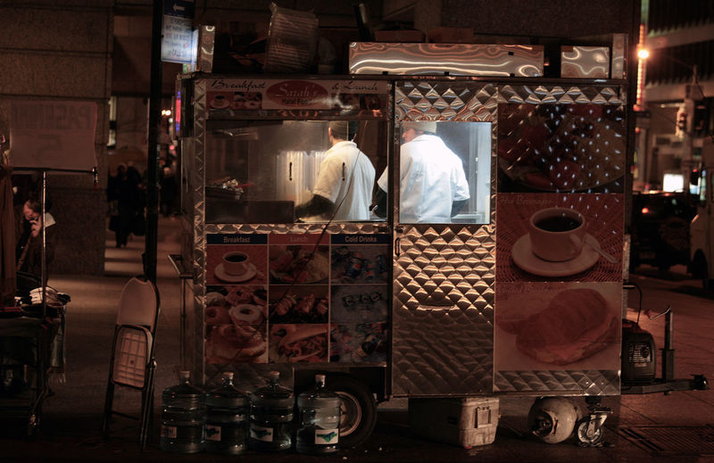 City Lights City Lights At Night City Night End Of Day Food Stall Food Truck Market Market Stall Midnight Munchies New York At Midnight New York At Night Night Night Photography Q Real People Stillness Store Working People Cooks Food Trucks Are The Best Light Up Your Life Workers Light Up The Night Lifesavers Adventures In The City