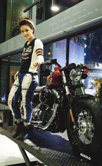Pretty Lady Portrait Motorcycles Haley Davidson Motor Show