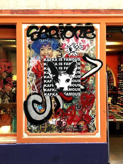 No People Store Multi Colored Grafitti Cat Picture Kafka Colourful Picture Shop Window Barcelona Gothic Quarter