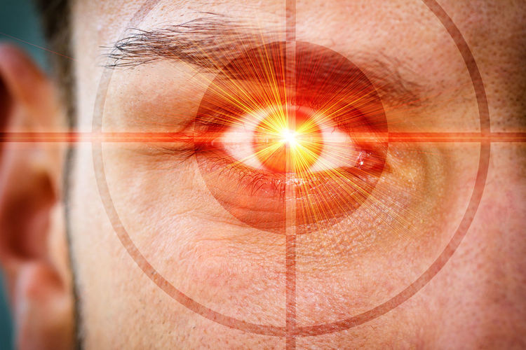 Eye of a man with laser ray and crosshairs Crime Eye Doctor  Iris Man Medicine Observation Observe Power Security Soldier Therapy Army Cyberspace Data Security Energy Eye Eyeball Health Internet Laser Medical Optician Pupil Spy Technology