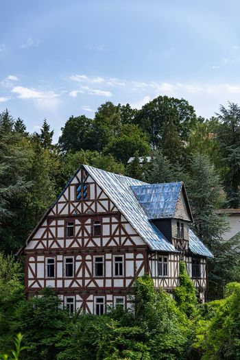 Tree Architecture Plant Built Structure Building Building Exterior House Sky Green Color Nature Growth No People Day Cloud - Sky Residential District Roof Non-urban Scene Outdoors Land Beauty In Nature Fachwerkhaus Wald Restaurierung Dachsanierung