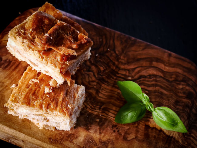 Basil Ciccioli Close-up Dessert Focaccia Food Food And Drink Freshness Herb High Angle View Indoors  Indulgence Leaf Leaves No People Plant Part Plate Ready-to-eat SLICE Snack Still Life Sweet Food Table Temptation