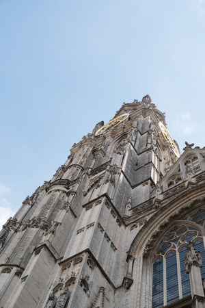 Looking up at the Antwerp Cathedral. The Cathedral of our Lady (Onze-Lieve-Vrouwekathedraal) in Antwerp Belgium. Roman Catholic Cathedral done in gothic style. Antwepen Antwerp Antwerp Architecture Antwerp, Belgium Antwerpen Antwerpen Centraal Antwerpen, Belgium Antwerp Belgium Architecture Building Exterior Built Structure Day History Low Angle View No People Outdoors Place Of Worship Religion Sky Spirituality Travel Destinations