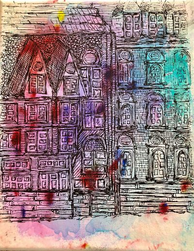 Canvas Painting Old World Buildings Art Bruge Pen Drawing Tangling Canvas Art Full Frame Backgrounds Wall - Building Feature Pattern Architecture Art And Craft Creativity No People Built Structure Multi Colored