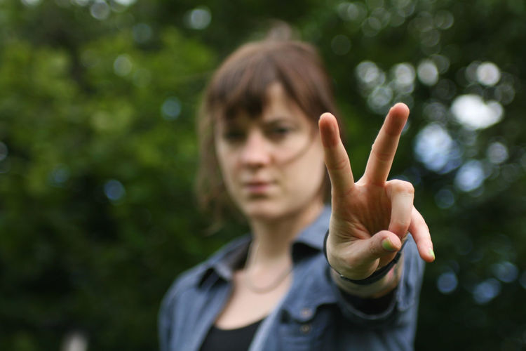 Woman Showing Peace Sign