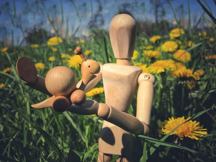 Woody has got a new friend 🐌 Woodyforest Plant Nature No People Growth Flowering Plant Flower Close-up Toy Wood - Material Human Representation Creativity Focus On Foreground Beauty In Nature Green Color