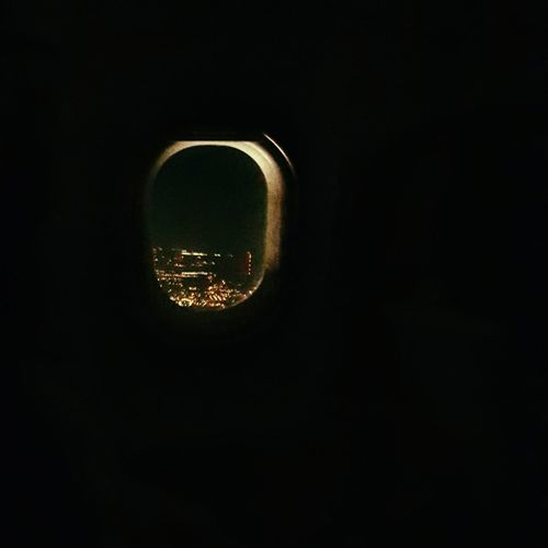 Airplane Window City Lights Astronomy Black Background Close-up Aircraft