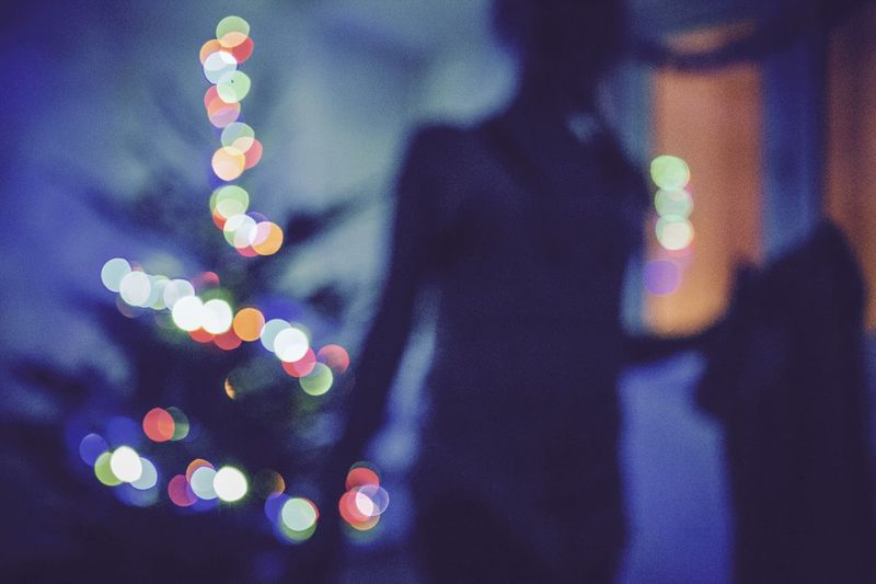 Bokeh Lights Decoration Defocused Illuminated Silhouette Merry Christmas