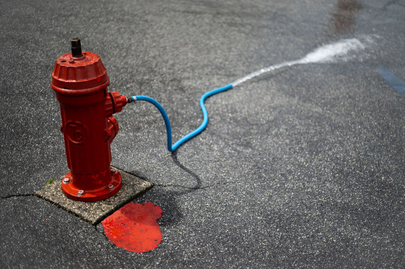 High Angle View Of Fire Hydrant On Road