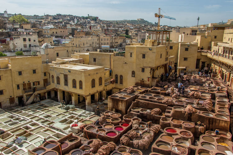 The famous Chouara Tannery in Fez, Morocco. Connected By Travel Morocco Architecture Building Exterior City Crowded Day Fez Outdoors Tannery
