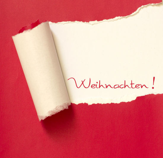 Weihnachten! Christmas German German Language Text Weihnachten Word Xmas Celebration Celebration Event Christmas Card Close-up Communication Day Indoors  Message No People Nobody Paper Red Surprise Text Torn Paper White Background White Color Written