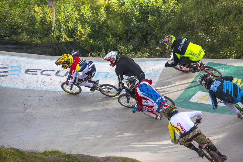 High angle view of cyclists racing on track