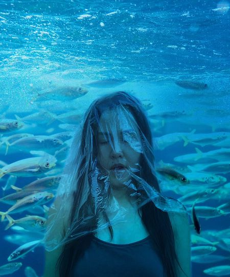 Earthday One Person Long Hair Water Portrait Sea Underwater Blue Plastic Environment - LIMEX IMAGINE