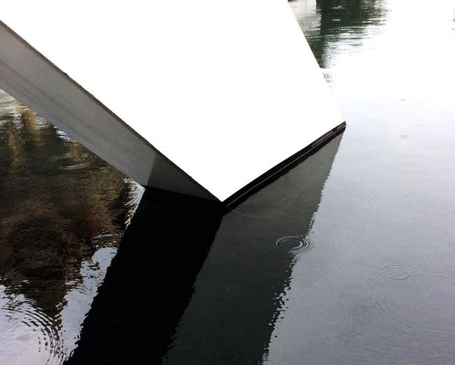 Reflection of boat in lake
