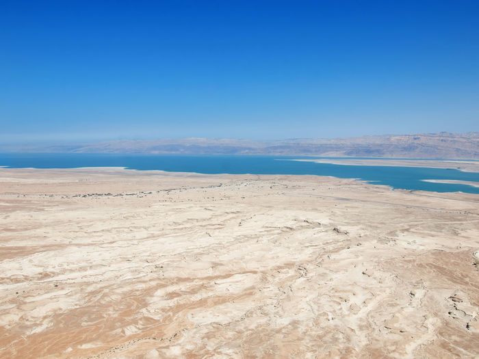 Masada. Israel Aerial View Beach Beauty In Nature Blue Clear Sky Day Dead Environment Landscape Nature Nature Reserve No People Outdoors Sand Scenics Sky