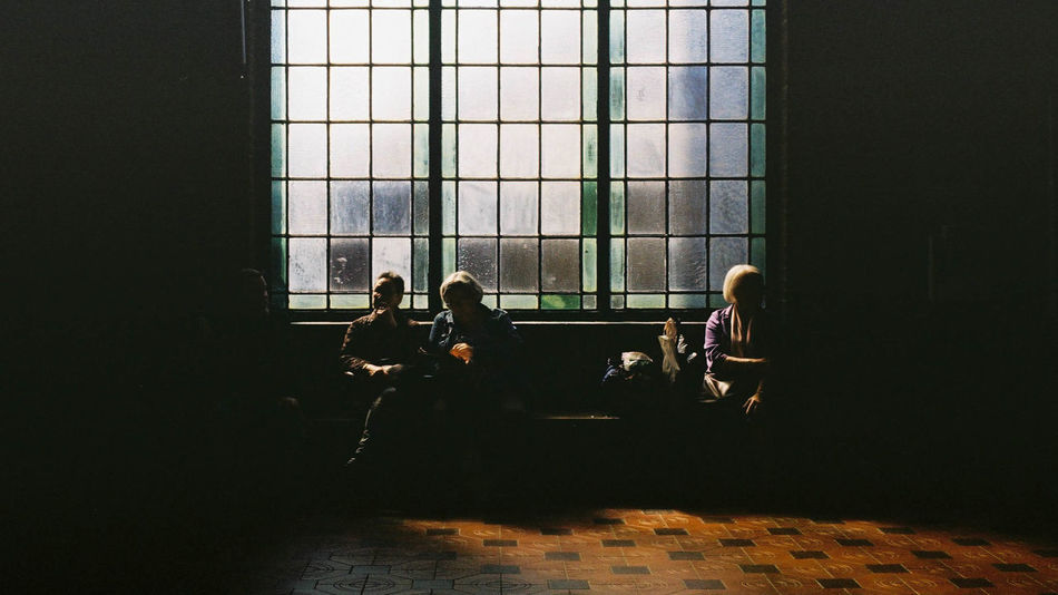 Copenhagen, Denmark Waiting Architecture Built Structure Day Daylight Film Photography Indoors  Light And Shadow Men Nikonf2 People Proimage100 Real People Shadow Sitting Window Women