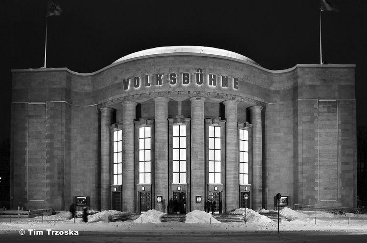 Architectural Column Architecture Berlin Built Structure City Nacht Night Outdoors S/w Theater Trzoska Volksbühne Winter