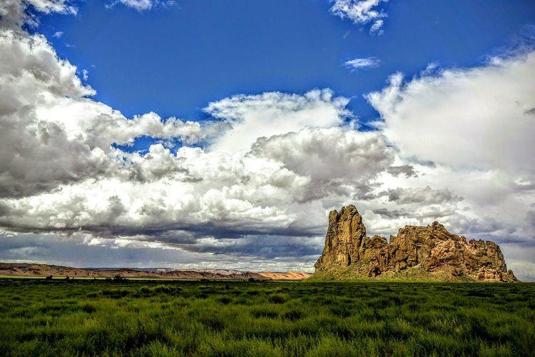 Rock formation on a field