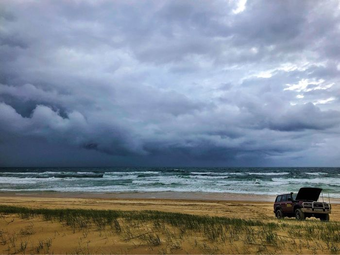 When you break down... Sea Beach Cloud - Sky Horizon Over Water Sky Nature Water Storm Cloud Beauty In Nature Outdoors Vacations Land Vehicle Sand Scenics Day Transportation No People Wave