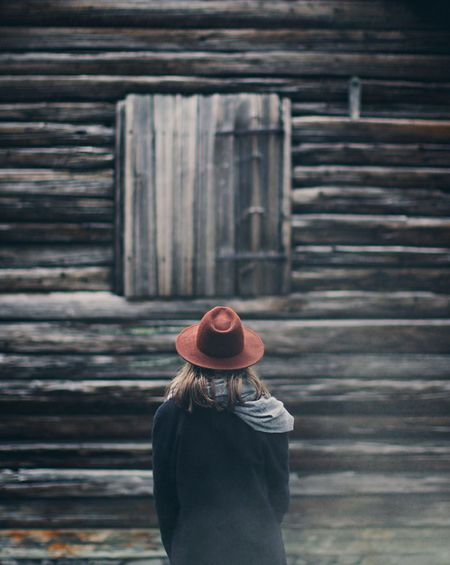The log lady 🌲🌲 ExploreEverything Wonderland Foggy Forest Mood Moodygrams Folkscenery Greatoutdoors Folk Twinpeaks Atmospheric Nordic Atmospheric Mood Real People One Person Leisure Activity Lifestyles Rear View Standing Women Built Structure Day Casual Clothing Architecture Outdoors Warm Clothing Young Women Nature Young Adult Fresh On Market 2018