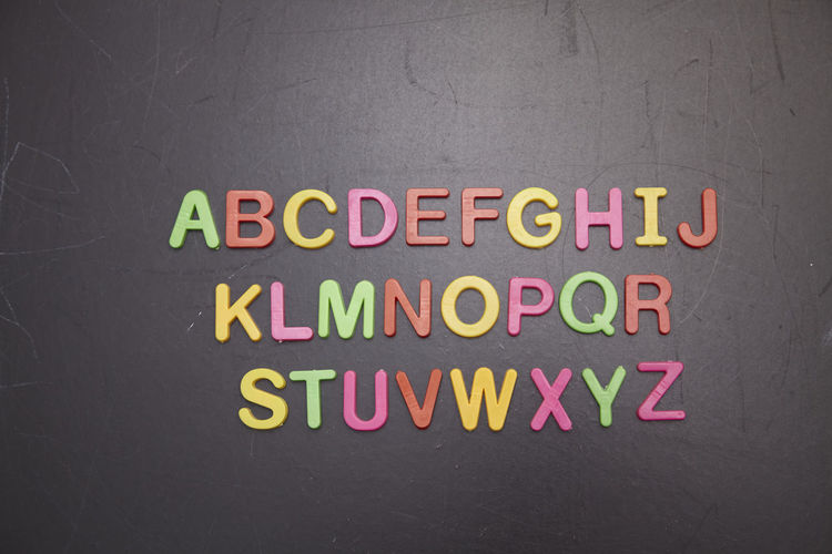 alphabet on the blackboard Alphabet Font A To Z Arrangement Preschooler Blackboard  Chalkboard Education Learning Studying English Text Western Script Communication Capital Letter No People Close-up Indoors  Directly Above Top View Multi Colored Letter Yellow Message