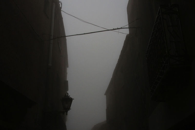 Erice Italia Architecture Cable Erice Fog Foggy Power Line  Silhouette