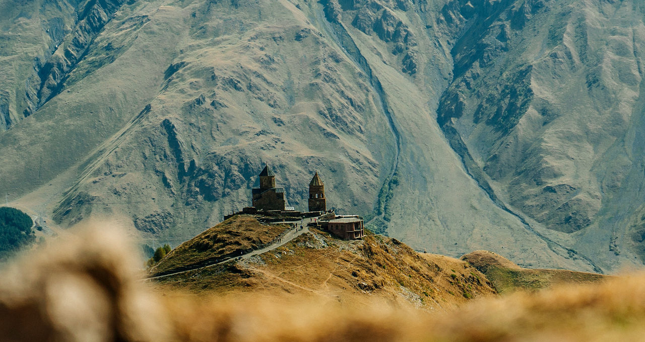 mountain, architecture, religion, place of worship, landscape