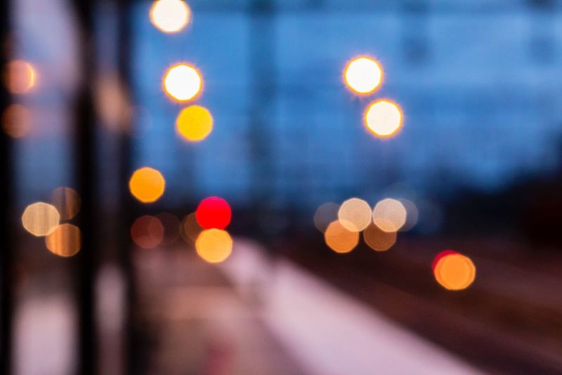 Evening at railway station - Illuminated Night Defocused Lighting Equipment City Light No People Pattern Building Exterior Outdoors Light Effect Close-up Architecture Bokeh Railway Station Railway Station Platform Railway Signal Exceptional Photographs The Week Of Eyeem First Eyeem Photo Hello World Lights Evening Reflection Simple Things In Life