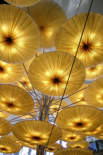 BYOPaper! Desing Indoors  Lamp Low Angle View No People Orange Forms Pattern Roof Lamp The Architect - 2017 EyeEm Awards Paint The Town Yellow