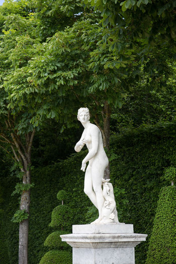 Statue against trees in garden