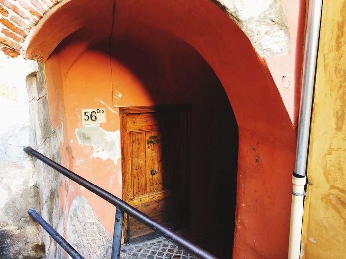 Text on door of building