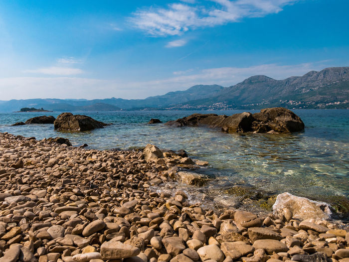 Cavtat  Cloud Croatia EyeEm Best Shots EyeEm Nature Lover Mediterranean  Nature Nature Photography Rocky Beach Tranquility Beauty In Nature Cloud - Sky Day Hrvatska Mountain Naturelovers No People Outdoors Rocks Sea Sea And Sky Sky Tranquil Scene Water Waterfront