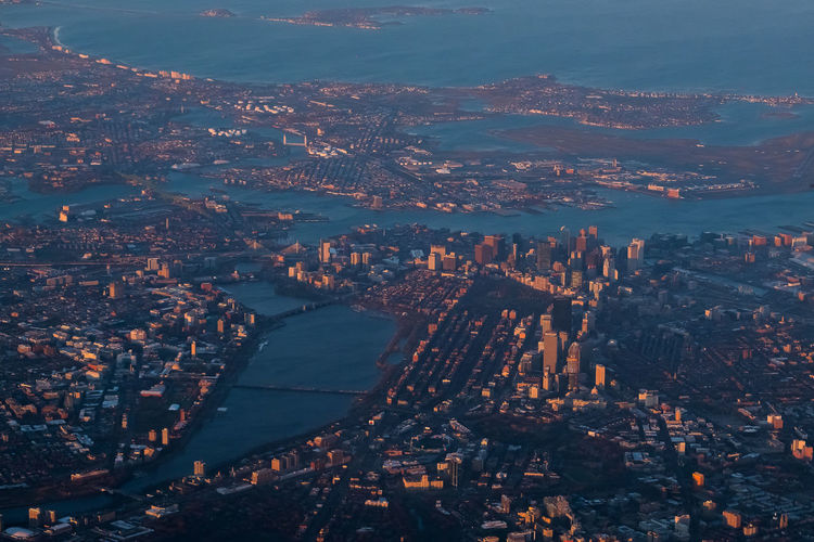airplane view Boston MA,USA Downtown District Top View Airplane View Vintage City Cityscape Urban Skyline Sea Aerial View Blue High Angle View Skyscraper Sky Financial District  Office Building Exterior Tall - High Tower Communications Tower Office Building