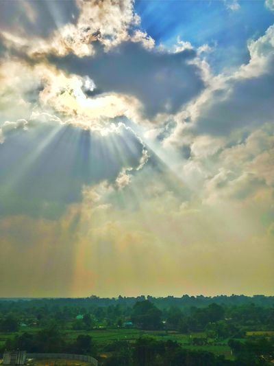 Sunbeams Through Clouds God's Beauty Raysofhope Dramatic Angles Cloud - Sky Rural Scene Sky Outdoors Nature Landscape Day Beauty In Nature Scenics