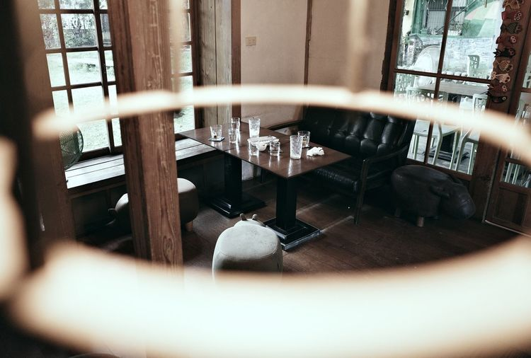 Chairs and tables in the window