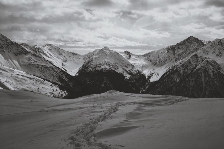 Mountains in black and white Bestnatureshot Blackandwhite South Tyrol Alps Italy Alps Mountainview Mountain Nature Scenics Tranquil Scene Sky Landscape Tranquility Beauty In Nature Mountain Range Cold Temperature Snow Winter No People