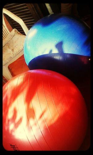 Balloons Blueandred Yogaball Relaxing