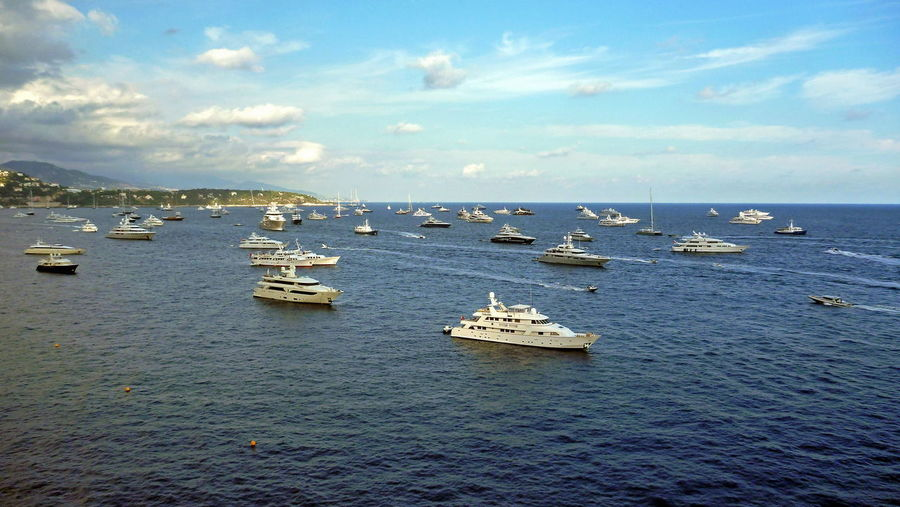 MYS 2016 Bay Blue Boat Boats Boats And Water Boats Boats Boats Boats⛵️ Cloud - Sky Fleet Group Of Objects Marine Mediterranean  Mode Of Transport Monaco Yacht Show Nautical Vessel Postcard Scenics Sea Sky Squadron Transportation Vessels Water Waterfront Yachts Done That.