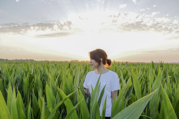 Breathing Space People Agriculture Field Cereal Plant Crop  Growth Farm Sky Nature One Person Rural Scene Mid Adult Standing Day Women Scenics Tranquility Outdoors Real People Plant Wheat EyeEm Selects EyeEmNewHere