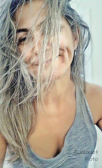 just awoke . . . Woman Awaken woke up bed Morning messy hair Morningtime bedroom Blonde model Crazy Hair happy Face sexy Sensual fun Playful